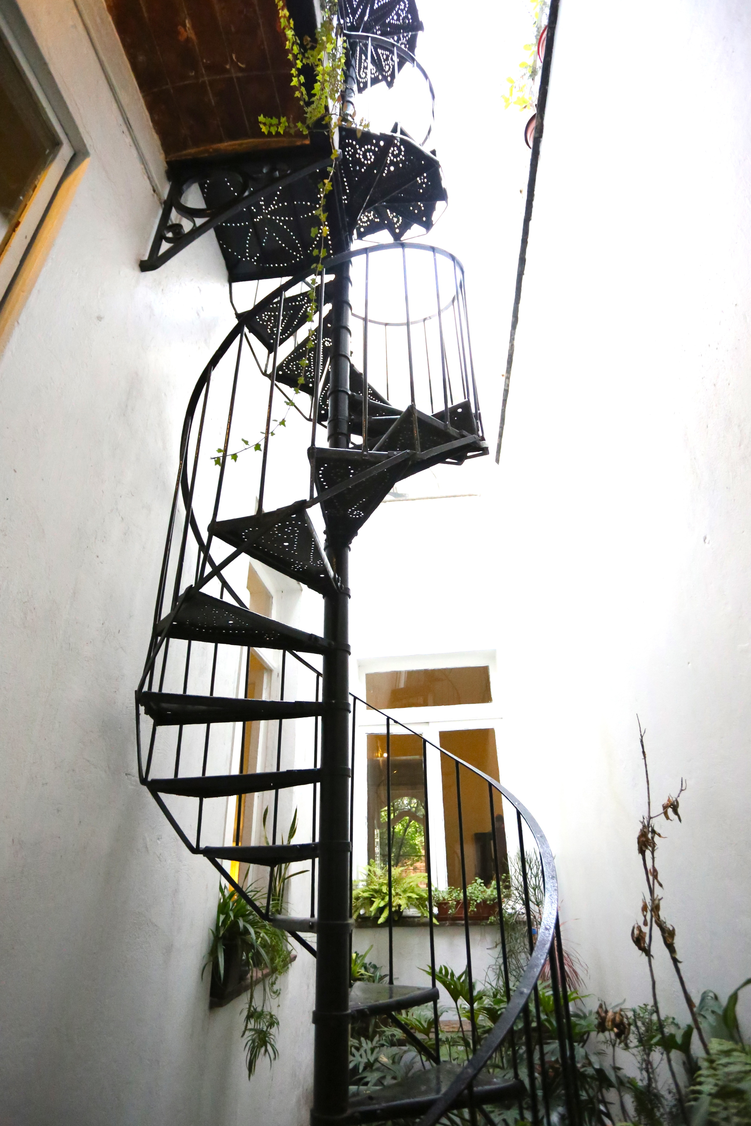 Through the kitchen and up these stairs was where the party started.