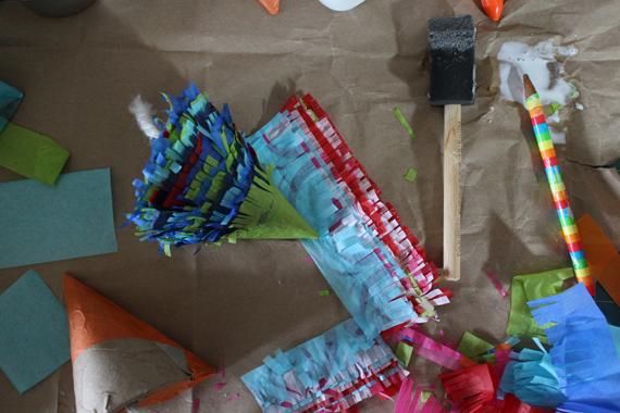 Catnip piñatas in progress.