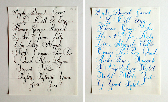 Practice sheets from July. The sheet on the right is my first try at writing with gauche.