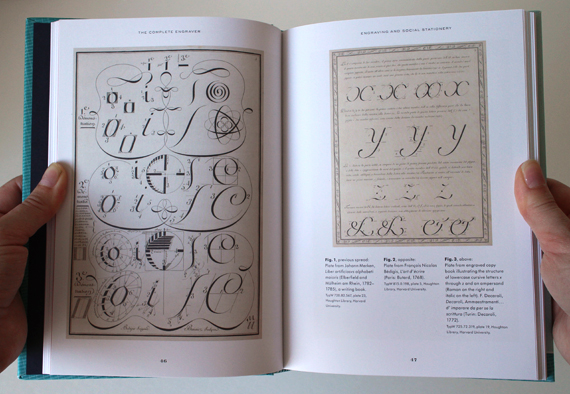 I was excited to see there are some images of engraved samples of calligraphic writing styles in the book.