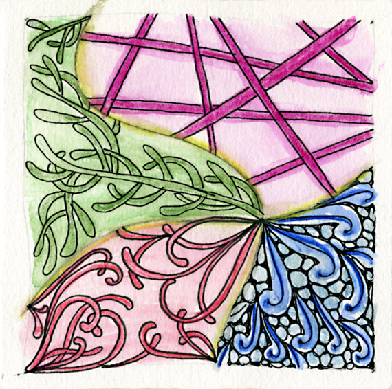 Patterns used: Mooka, Verdigough, Flux, Hollibaugh (with watercolor pencils)
