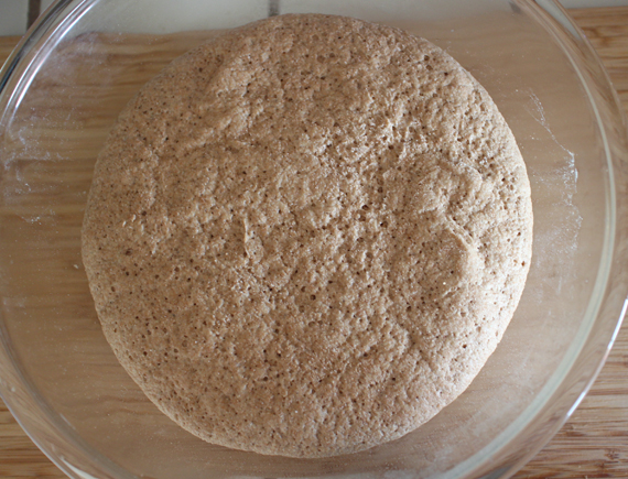 Bread dough after it's first rise. It didn't quite double in size OR I was too impatient to get to the baking of my first loaf of bread.