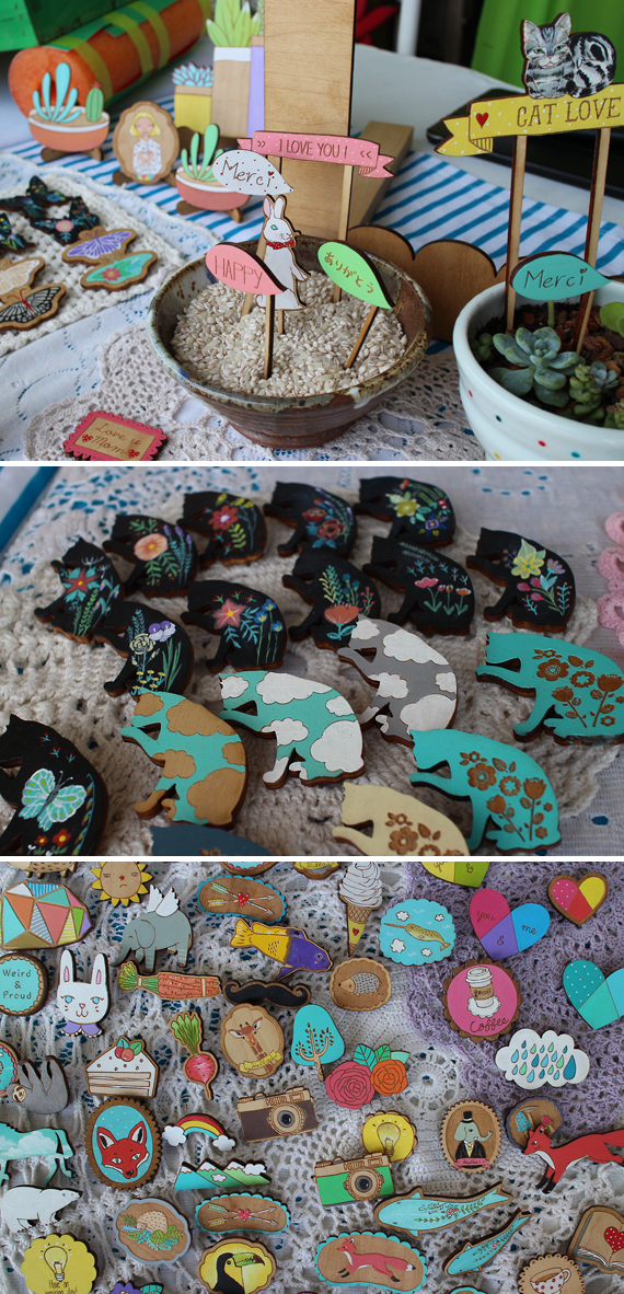 Adorable hand painted wood lapel pins and novelty items.