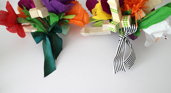 I finished off the bouquets by wrapping the stems with ribbon.