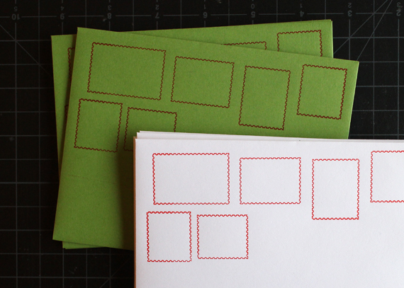 Stamp motif notecards in christmas colors.