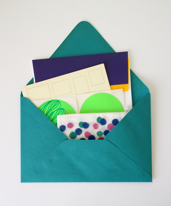Contents of a past mailing. Includes items to help you send your own mail or wrap a gift.