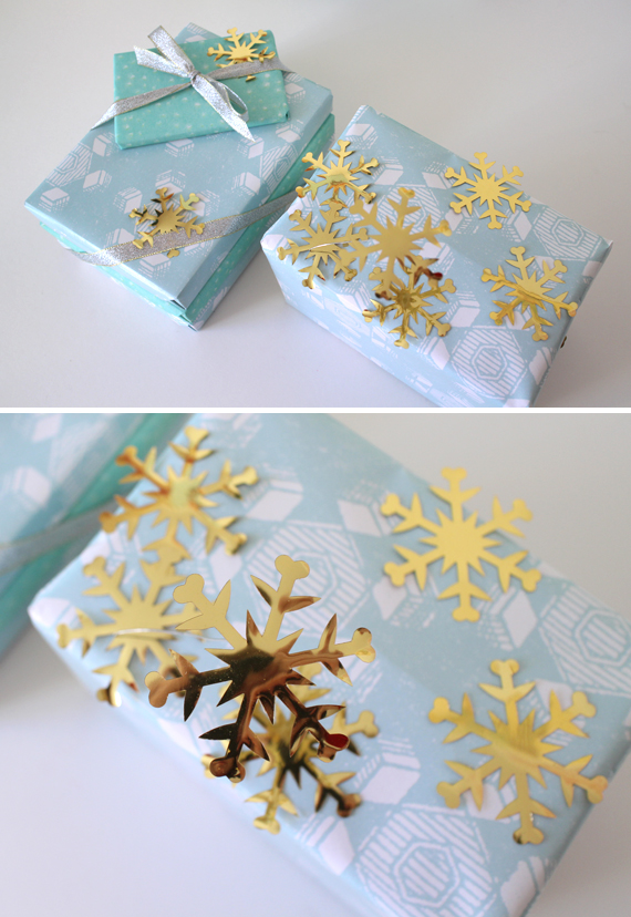It's hard to tell in the photos but I used wire to float one of the snow flakes above the package.
