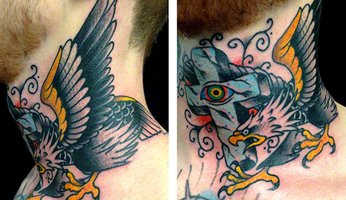 Traditional Eagle and Cross by Jeff Zuck Name Brand Tattoo Ann Arbor MI