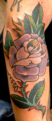 Traditional Rose by Jeff Zuck Name Brand Tattoo Ann Arbor MI