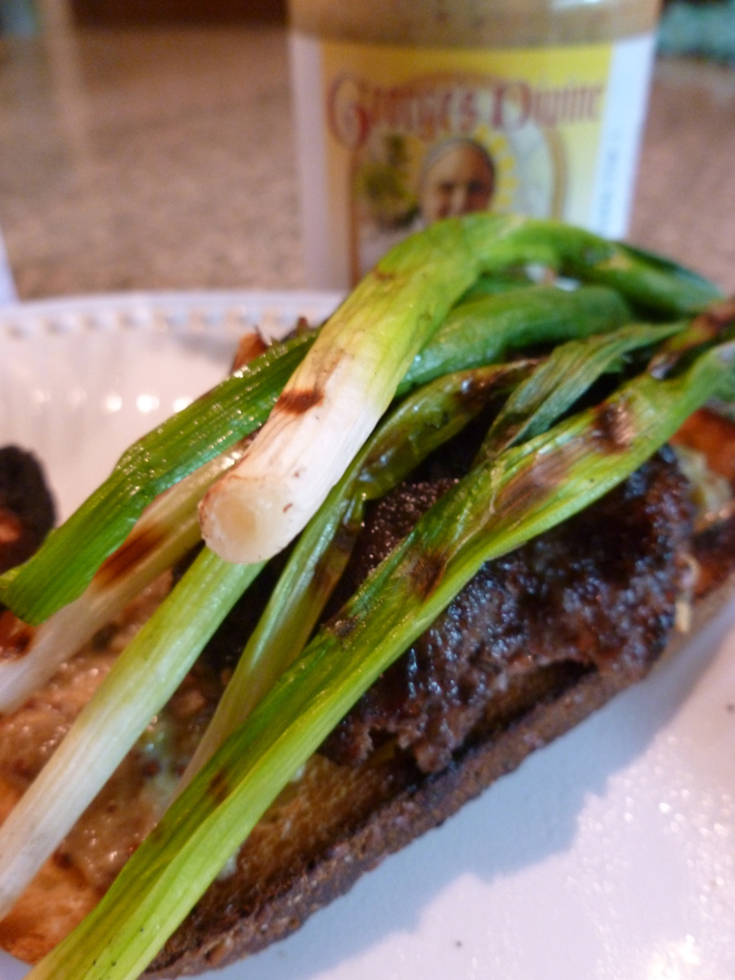 Bacon Burger #1 - mustard and grilled scallions