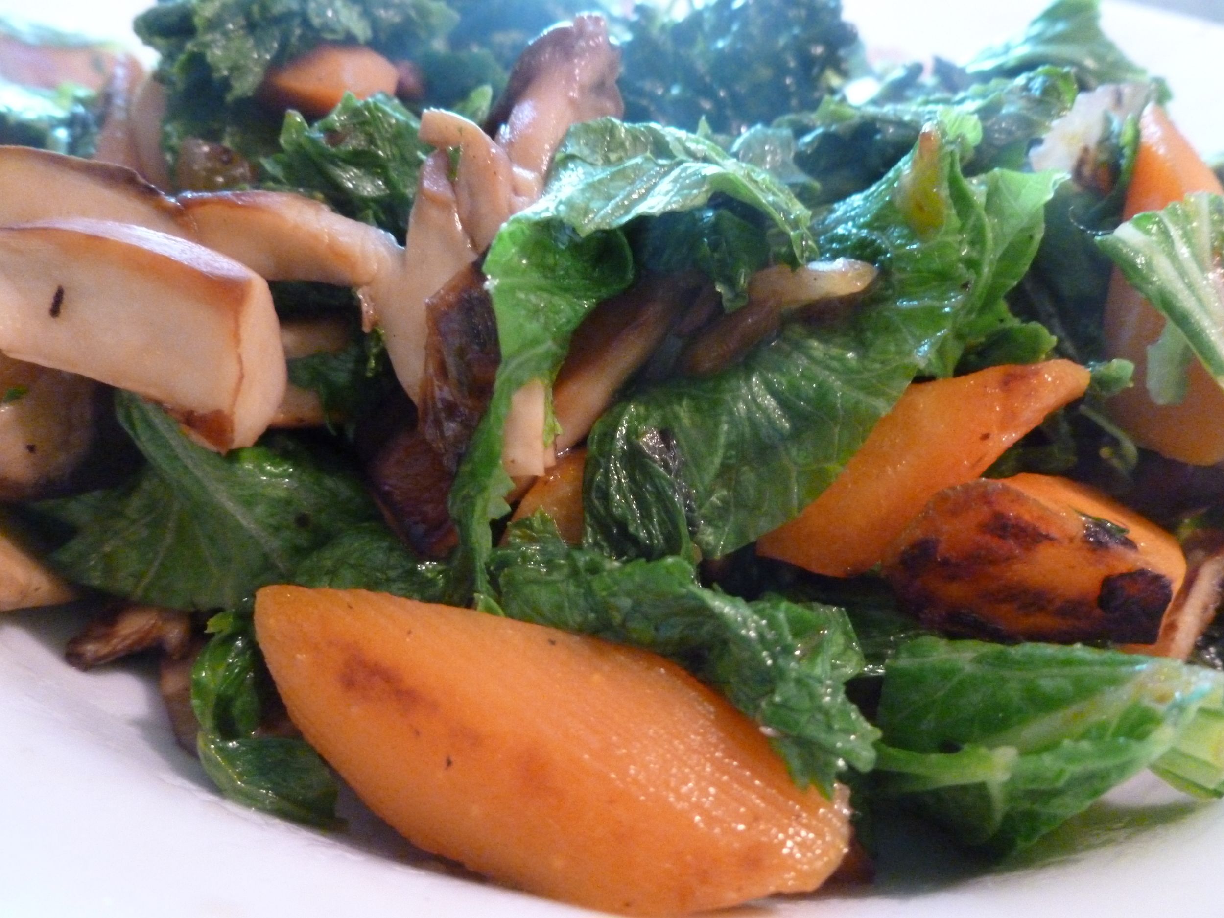 Sauteed Mustard Greens with Carrots and Mushrooms