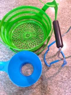 The green canning basket, wide mouth funnel and the jar lifter.