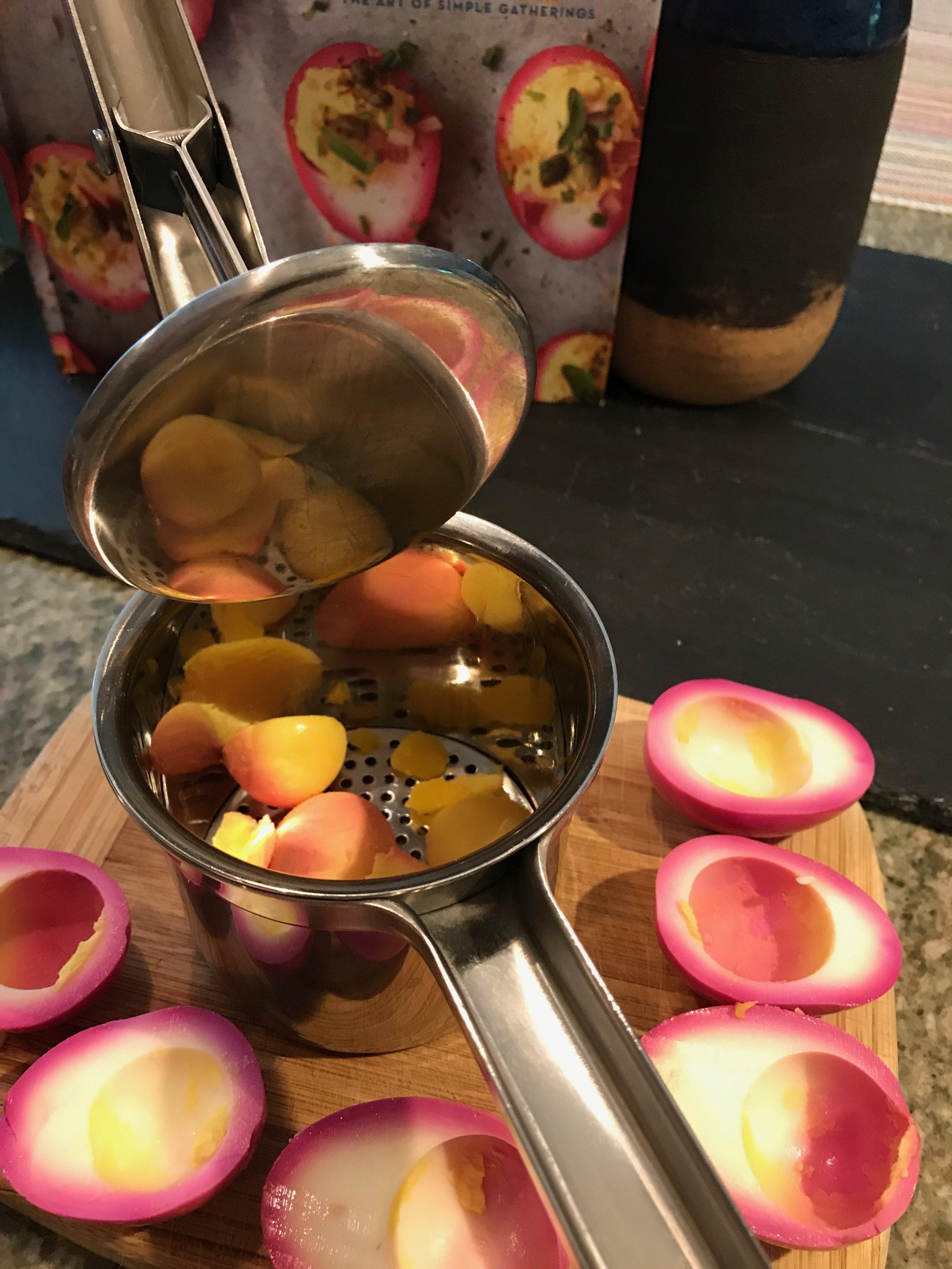 Mash Yolks! - I love using my potato ricer to mash my yolks - gives a smooth texture!
