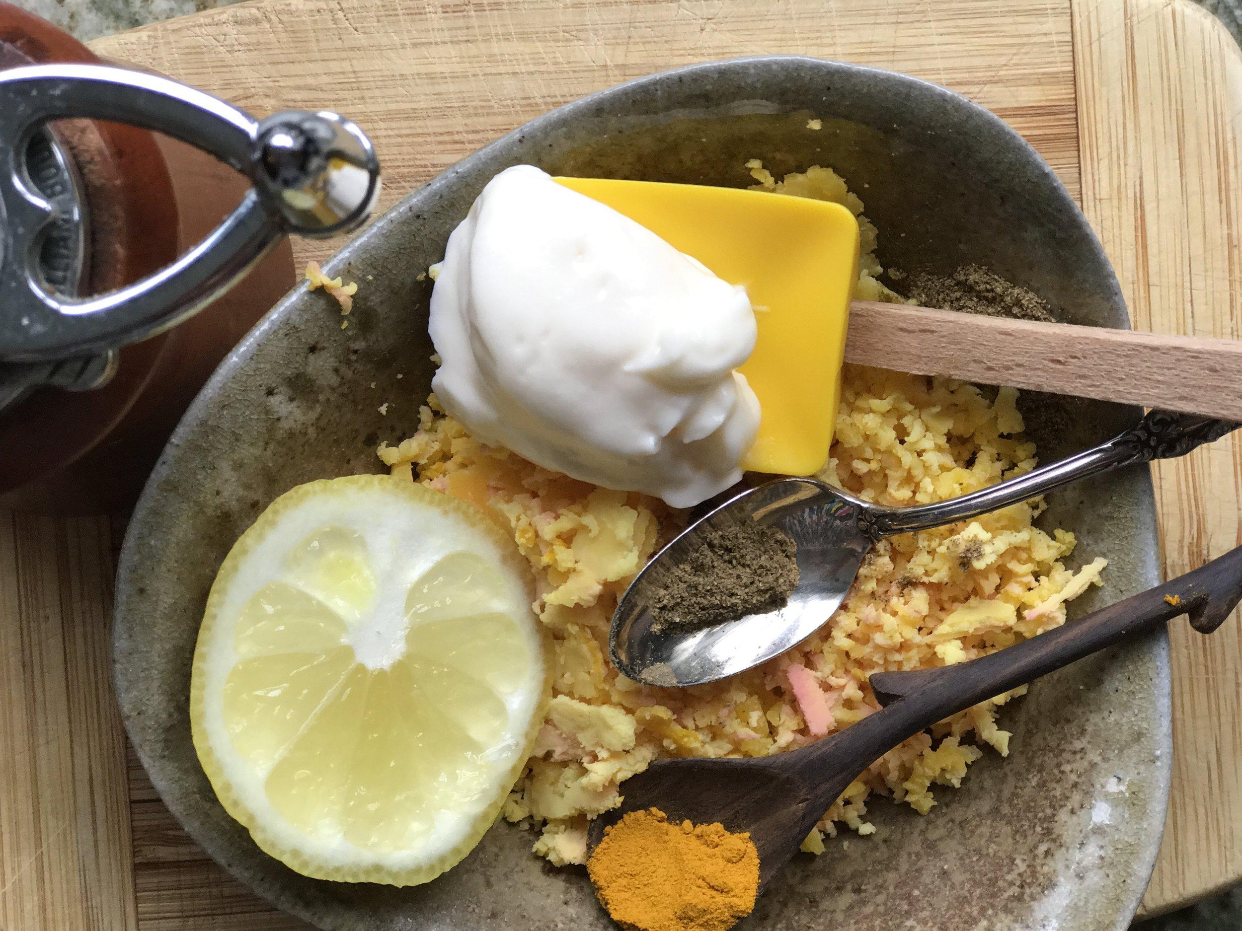 Prep the filling! - I used mayo, cumin, turmeric and lemon juice.