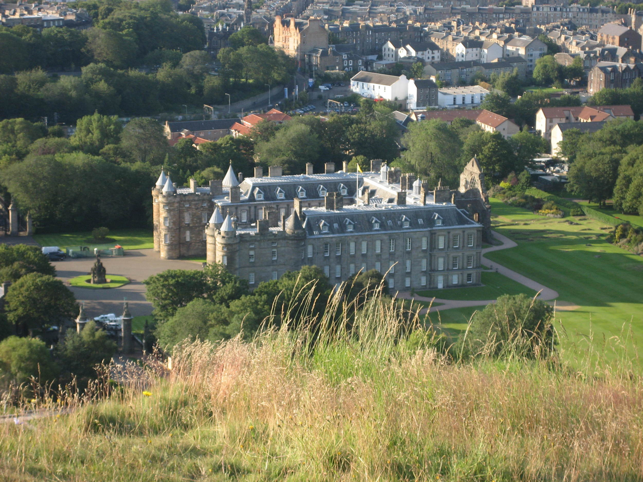 Looking down into Holyrood Palace from Arthur's Seat