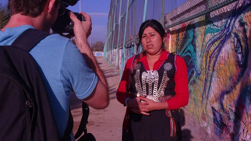 Filming my first interview with Indigenous Mapuche sovereignty activist Priscilla Catrilaf in Santiago, Chile.
