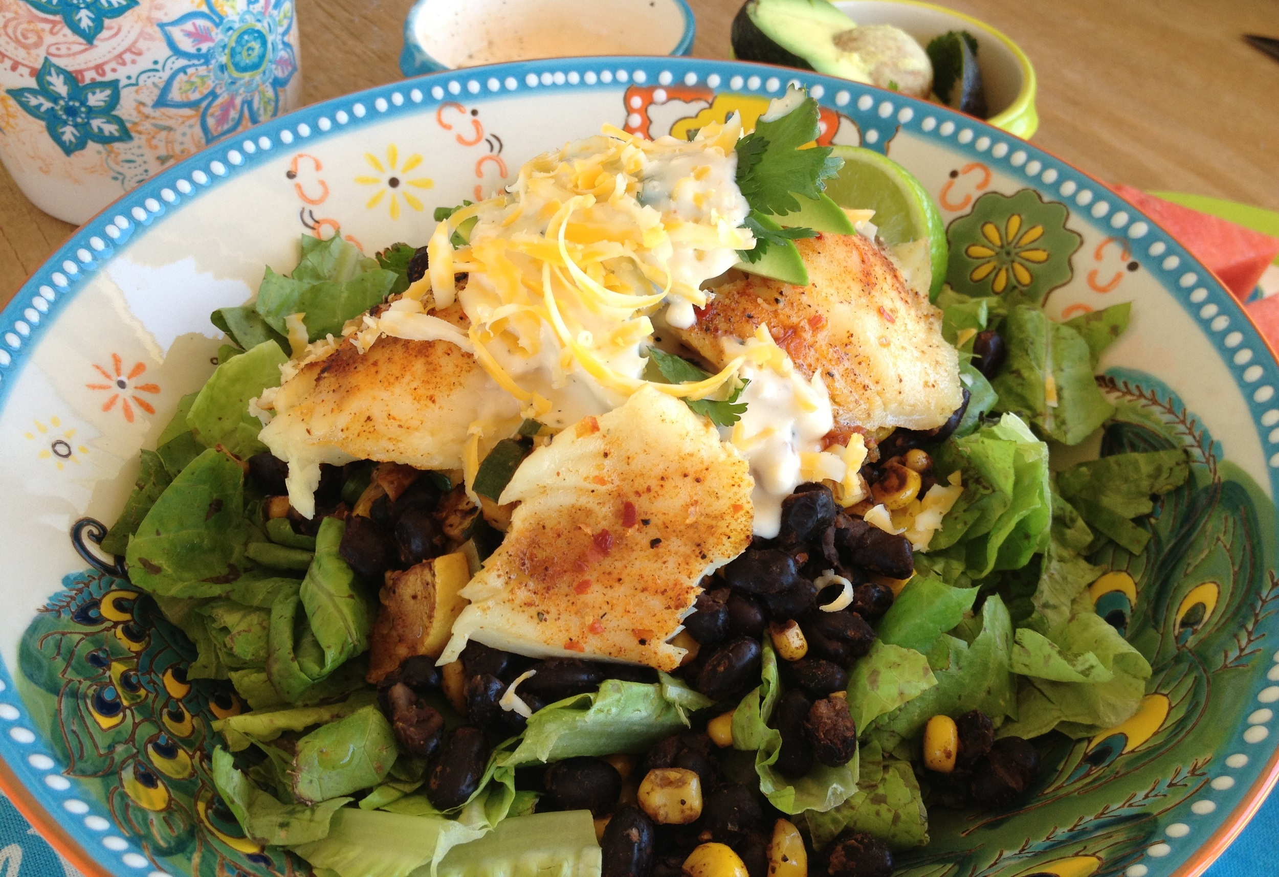 Tilapia Salad with Queso Fresco Dressing Recipe - FitCakery.com