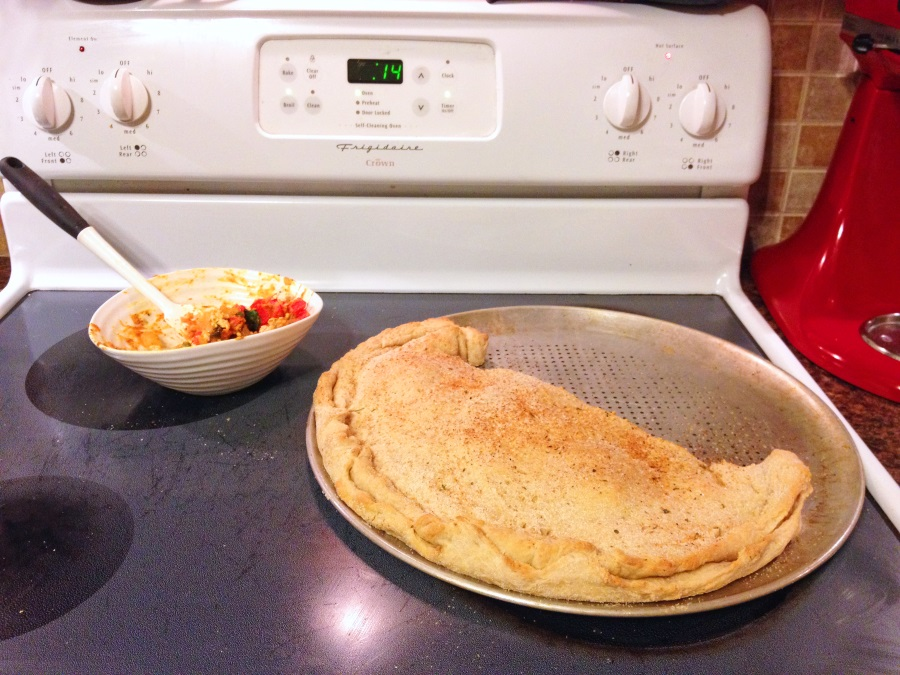 Harvest Calzone - making