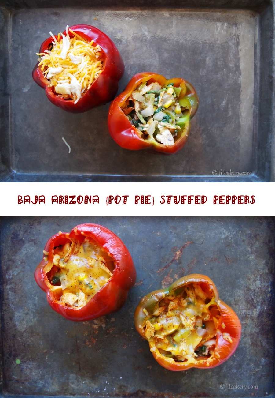 Great weeknight recipe that brings chicken pot pie and stuffed peppers together + spices things up! #weeknightmeals
