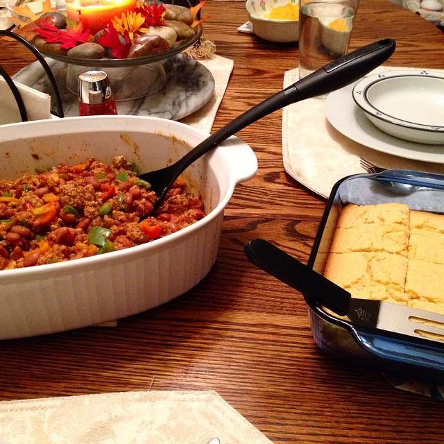 "Yummy! Post-""Pre-Judging"" homemade chili and cornbread! Thanks Mom!"