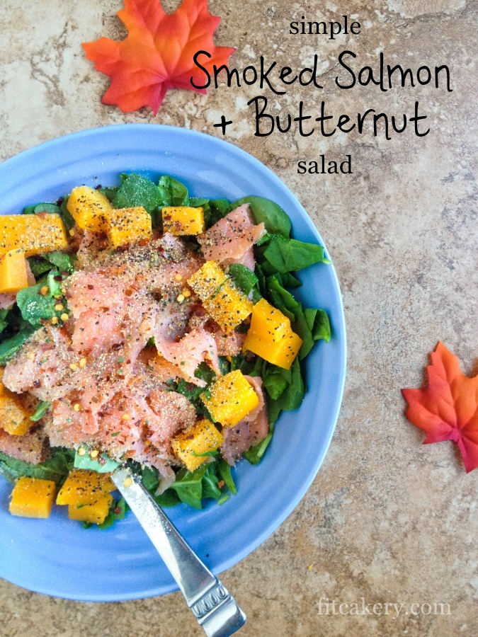 Butternut Squash + Smoked Salmon Salad - a few simple ingredients that will boost your metabolism to help burn fat! #cleaneats