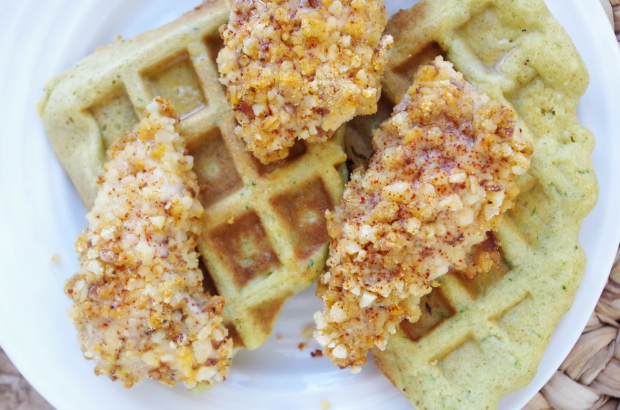 Chicken + Waffles has a new look! The family loves this healthified + delicious recipe! #healthyfamilymeals