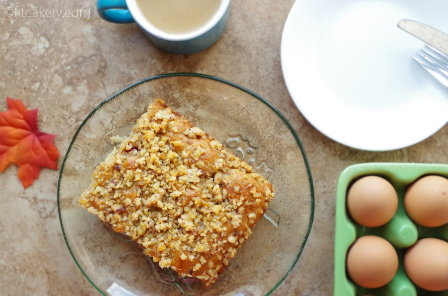 Breakfast or dessert - either way, this Cranberry-Apple Coffee Cake w/ Walnut Streusel is amazing! #healthybaking