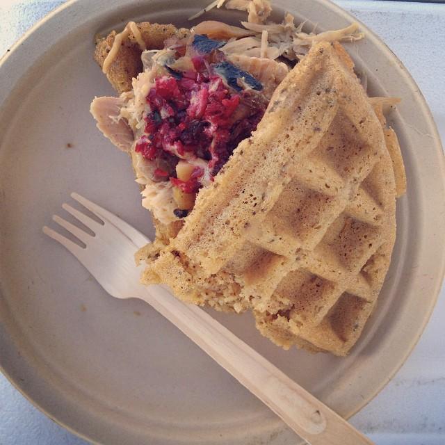 My Sonoran Turkey Mesquite-Waffle Sandwich from Foodie Fleet!