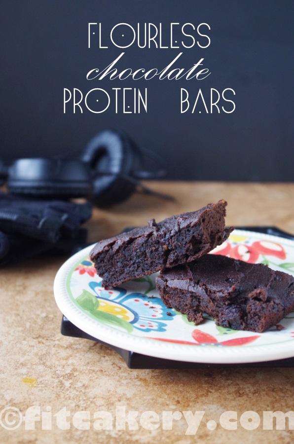 Flourless Chocolate Protein Bars Recipe - gluten-free, dairy-free - FitCakery.com