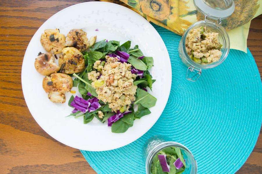 Easy Salmon Salad + New Potato Frites Recipes - FitCakery.com