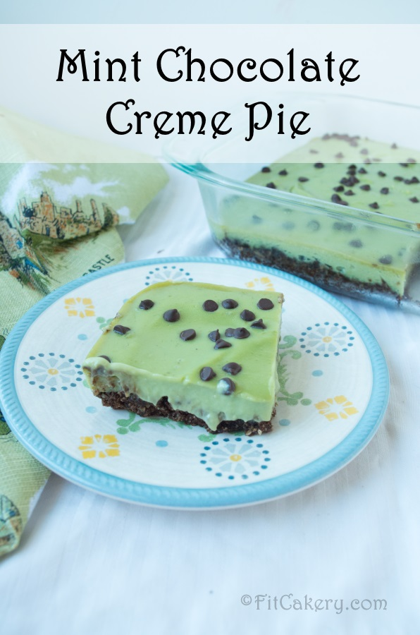 Healthy Mint Chocolate Cream Pie Bars - gluten-free and vegan recipe at FitCakery.com!