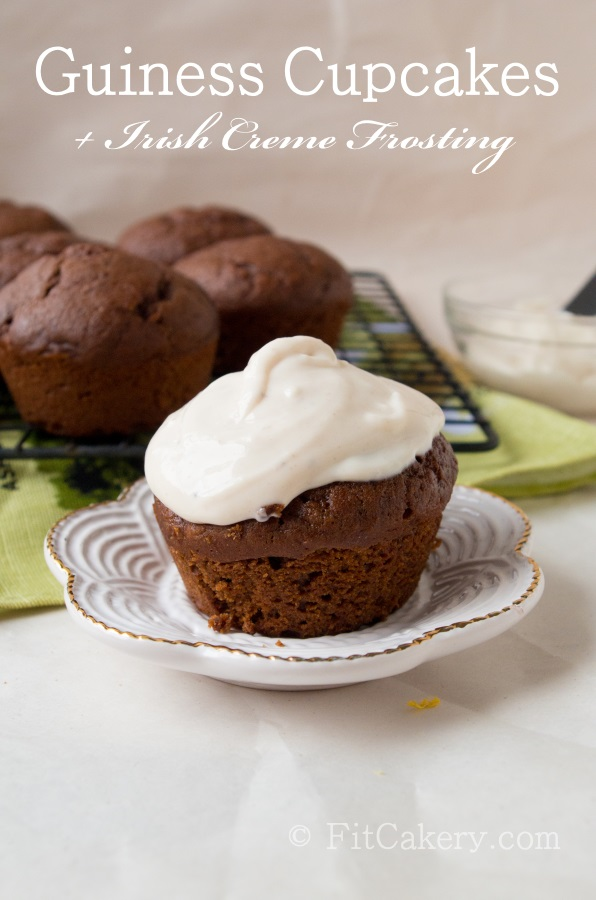 Guinness Cupcakes with Irish Creme Frosting (m  ade healthier + vegan!) - FitCakery.com