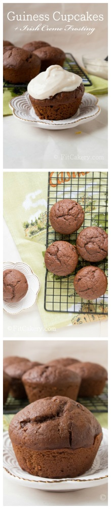 PIN this to save the recipe to your box! - Guinness + Irish Cream Cupcakes - FitCakery.com
