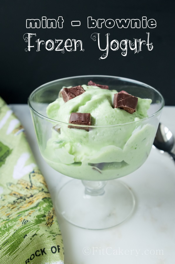 Homemade Mint Brownie Frozen Yogurt - a delicious, healthy recipe at FitCakery.com