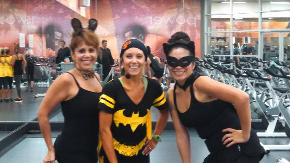 Last year's Halloween cycling class! We dressed up, there were prizes, I broughttreats, many calories were torched.