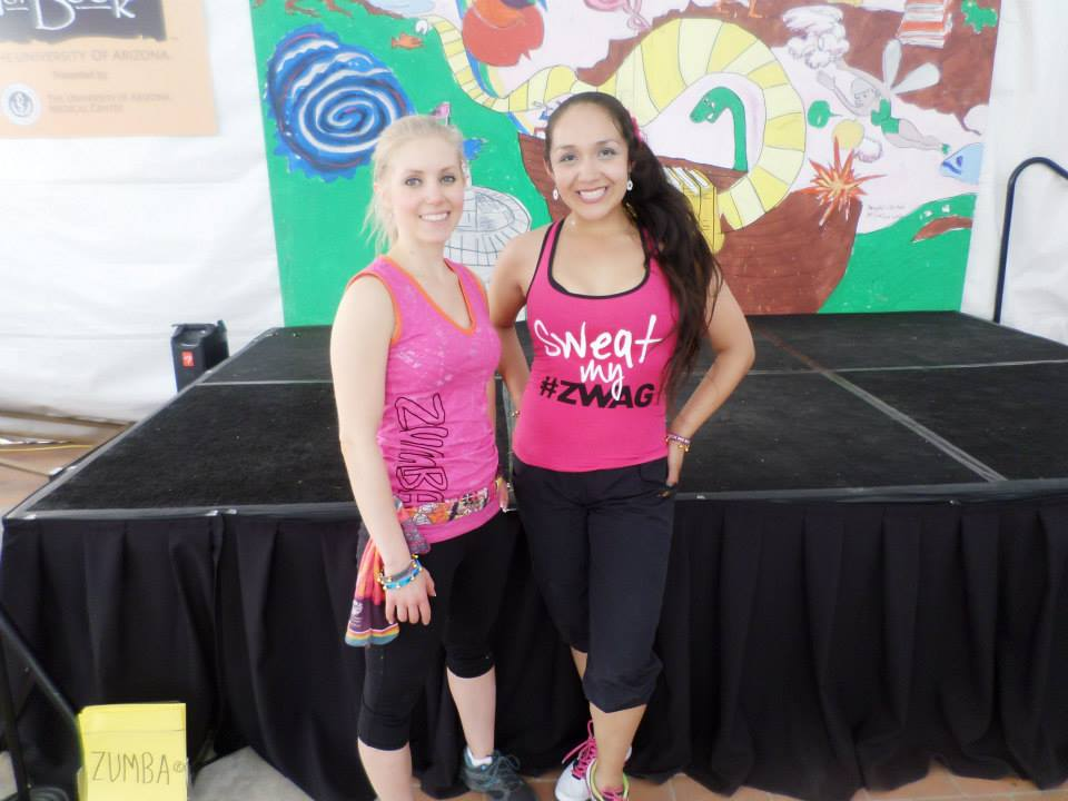 Fellow Zumba instructor and friend, Vanessa, after our Zumba session for Tucson's Festival of Books!