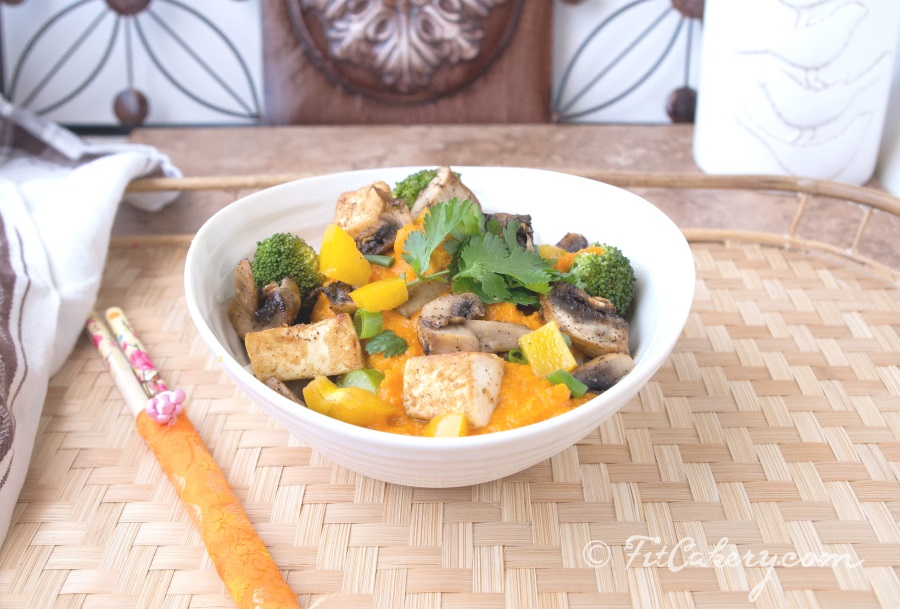 Thai Noodle Bowl with Carrot Sauce and Tofu Recipe - FitCakery.com