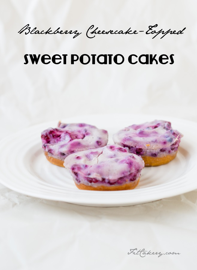 Blackberry Cheesecake-Topped Sweet Potato Cakes recipe - gluten-free + vegan - FitCakery.com
