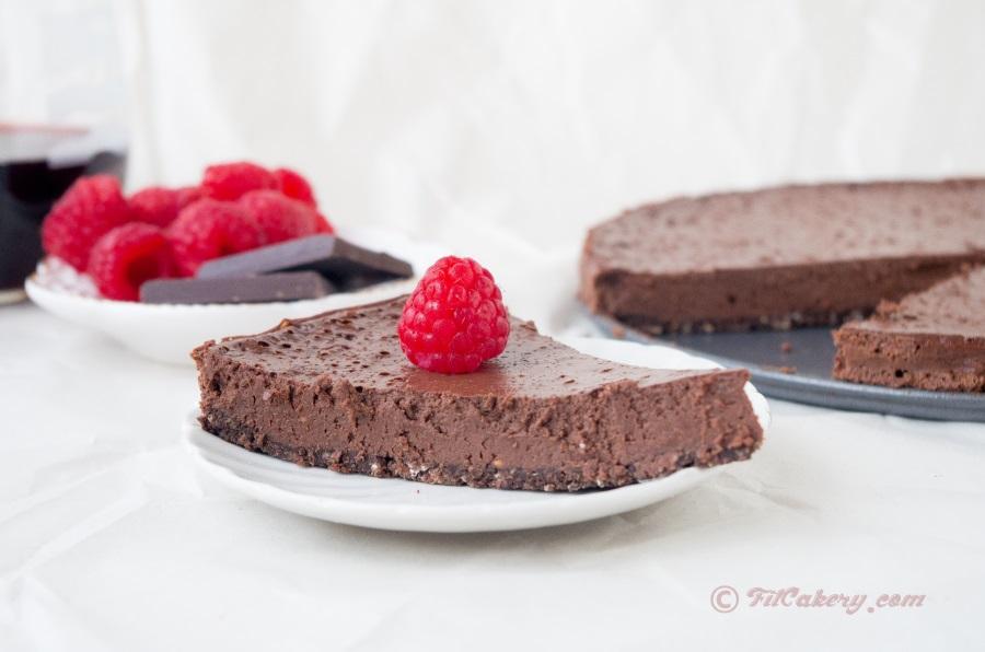 Best dessert ever. R  ed wine & chocolate raspberry tart (gluten-free)  | FitCakery.com