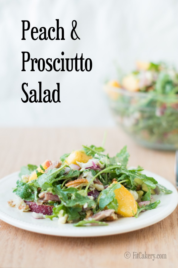 Peach & Prosciutto Salad - low-carb, gluten-free, perfect for summer!   FitCakery.com