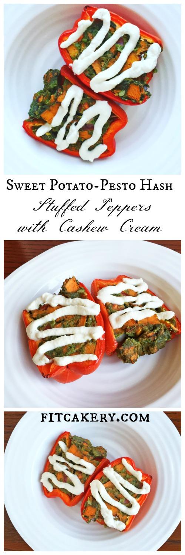 Sweet potato stuffed pepper with cashew cream - vegan, gluten-free - Fitcakery.com