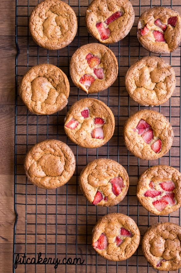 Strawberry Orange Cupcakes | gluten-free, lower-carb | FitCakery.com