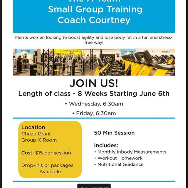 "I just had my first small group training session and we had a blast! We worked on what our goals were and our ""why"" for being healthy- and then we did an intro to metabolic training that got the whole body working after! Have a friend who would like to learn how to reach their goals but isn't sure how? Or doesn't know when they have time? Send them my way! 6:30-7:20am on Wednesday and Friday @chuzefitness on Grant and Swan! It's only $15 per session! Tag a friend and come next Wednesday morning - going on only for the next 7 weeks! 💪🏻🙌🏻🏋🏼‍♀️ #gymtime #workoutmotivation #healthylife #tucsonfitness #tucson #tucsontrainer #trainerlife #trainertips #fitchicks #fitnessmotivation #fitspiration #healthymorning #fatloss #metabolicconditioning"