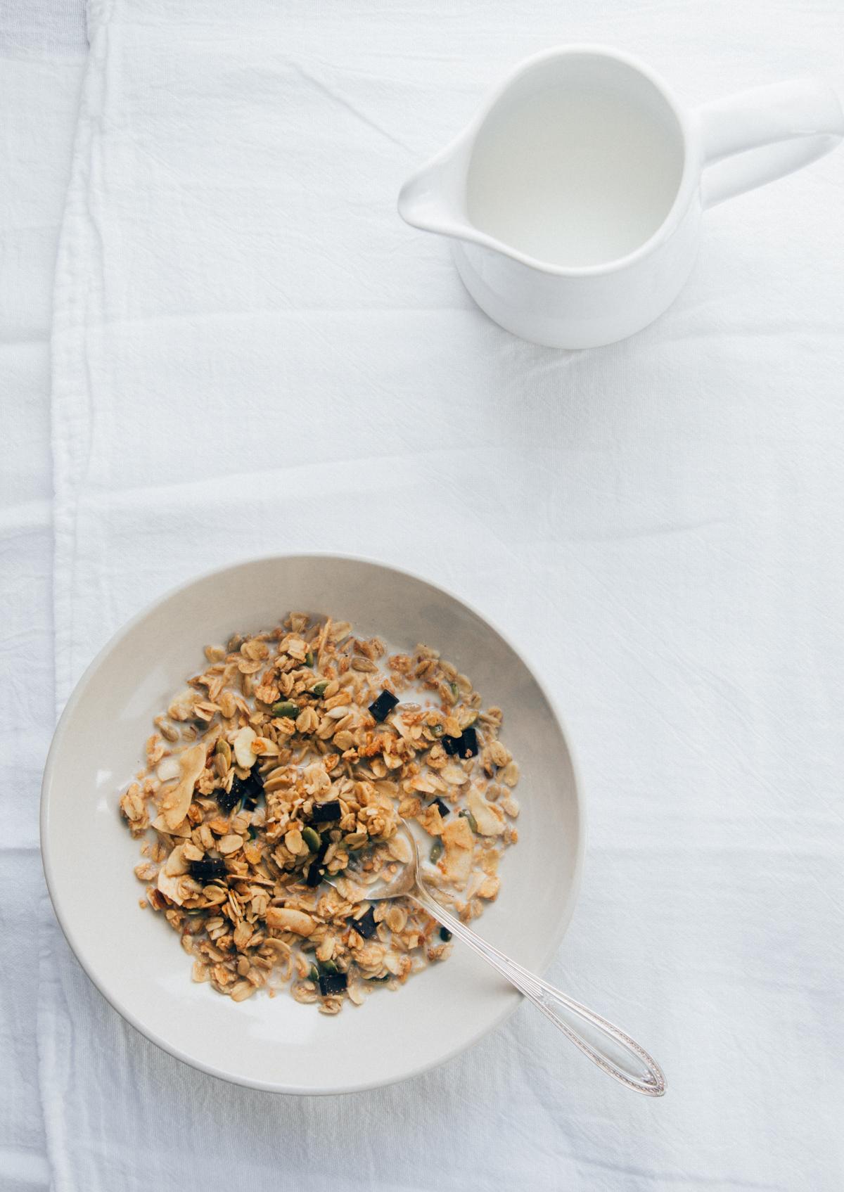 Coconut Granola  with coconut, dark chocolate and almonds./ Photo:  Melissa DiPalma