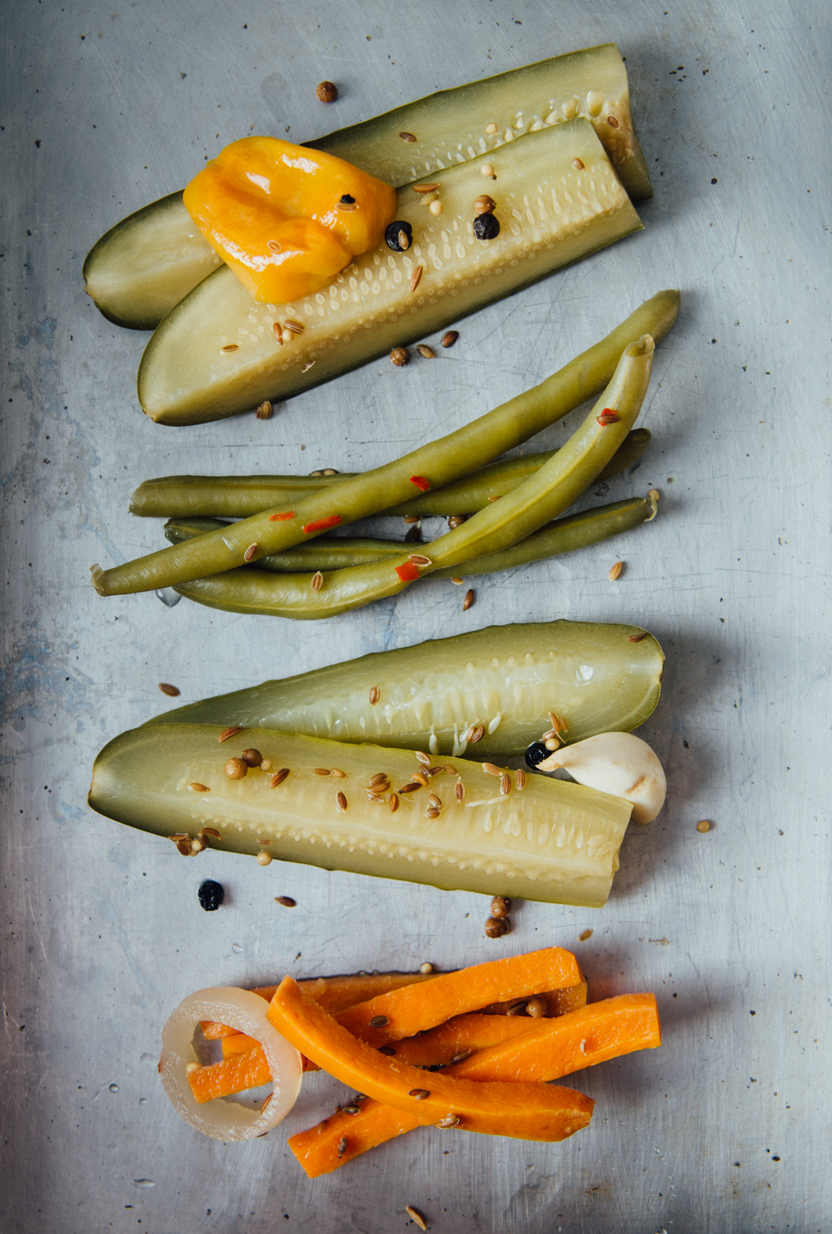 Four delicious varieties // (from top) Spicy Dill Pickles, Spice Market Beans, Garlic Dill Pickles, Dill Carrots