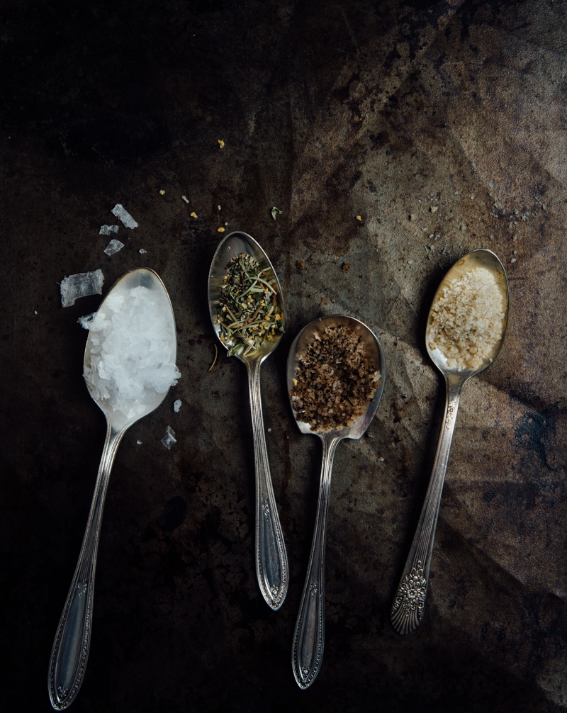 Four Salt Varieties: Flake Sea Salt, Salty Tuscan Herbs, Coffee Sea Salt, Lemon Sea Salt