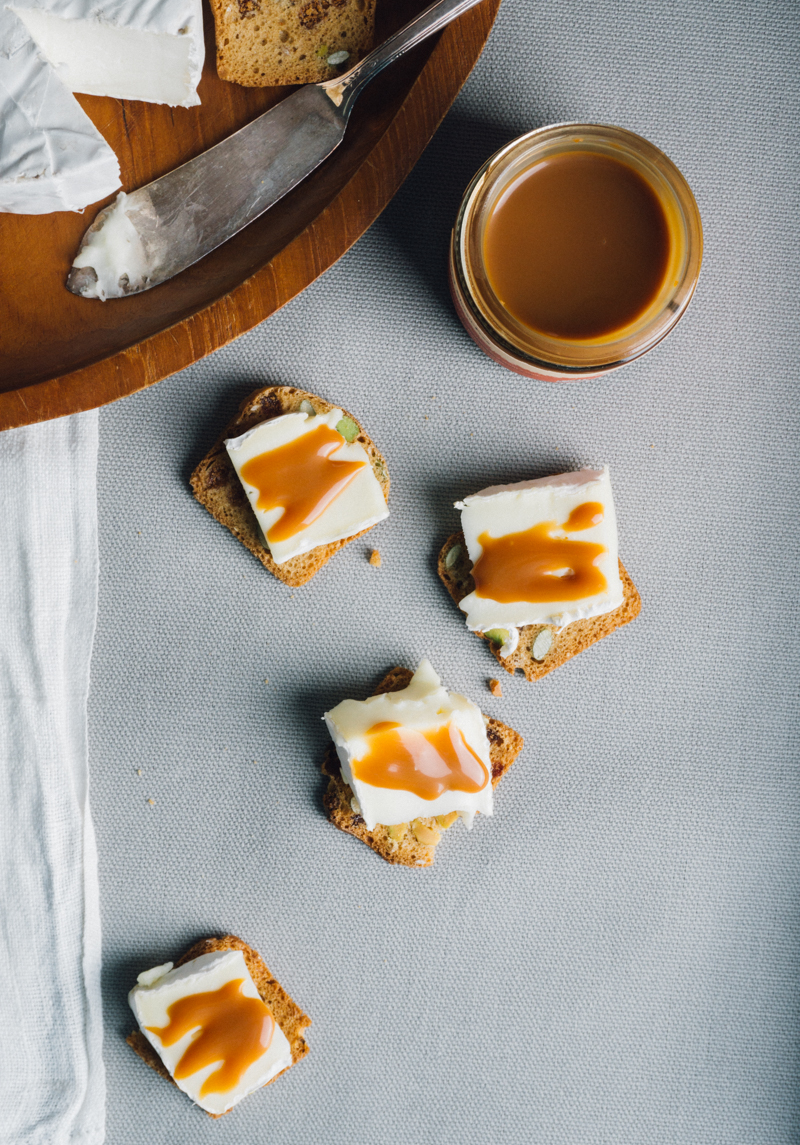Salty and sweet: Salted Bourbon flavor caramel sauce over goat's milk cheese.