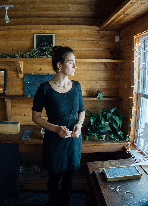 Harmony in her shop/studio in Westport, MA.