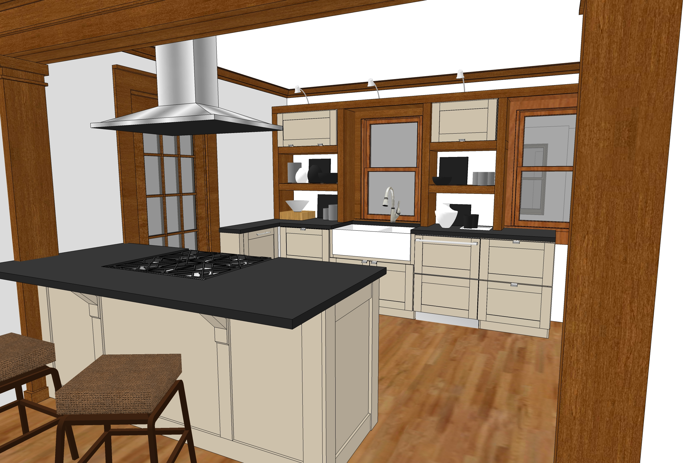 The first design with Painted cabinets and open shelving as part of the storage system.