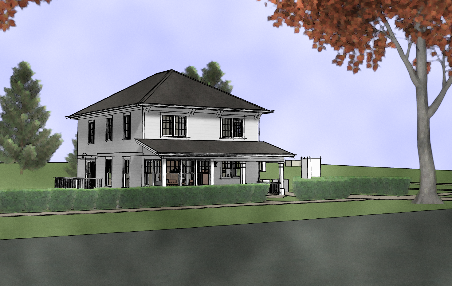Proposed house w/ full second floor and truss roof
